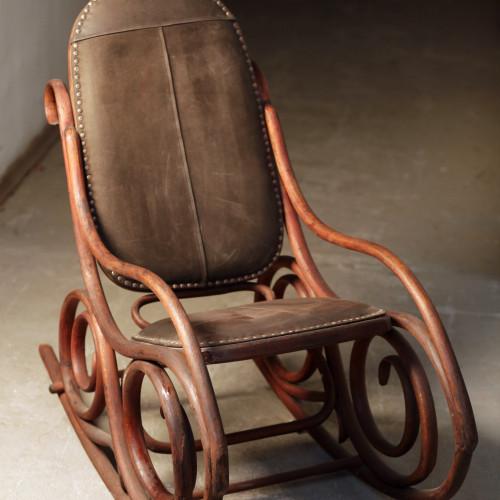 кресло-качалка конец 19 века, дерево, кожа