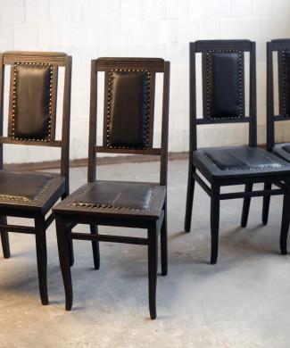 стулья ар-деко, чнрные, начало 20 в, дуб, кожа