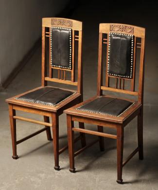 стулья ар-деко, 10-20 годы 20 в, дуб, кожа