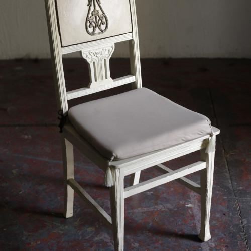стул в стиле модерн, начало 20 в, дуб, бронза, ткань