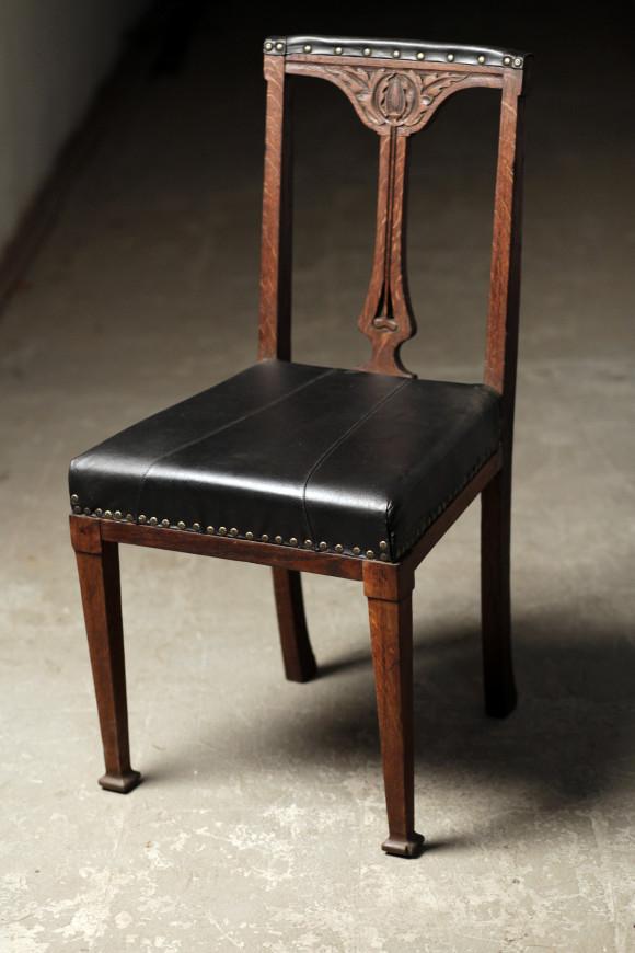 стул конец 19 века, ампир, дерево, кожа