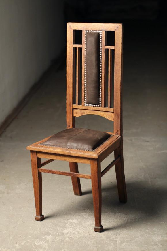стул-трон, 20-30 г 20 в, дуб, кожа