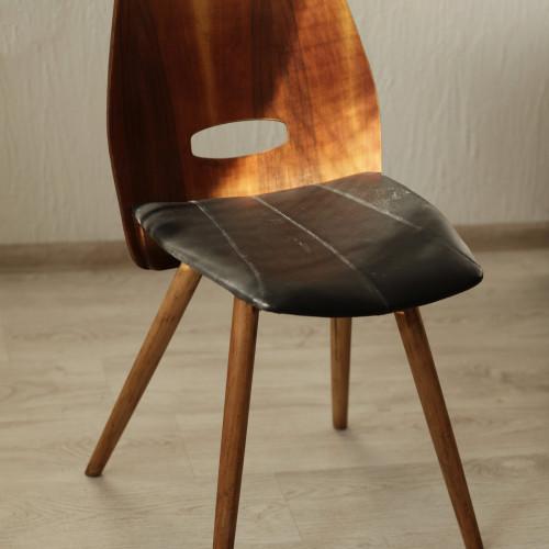 стул,60 годы 20 в, в стиле советского конструктивизмадуб, кожа